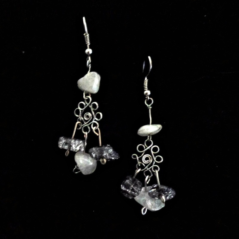 Wire and stone earrings